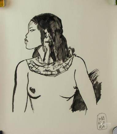 Italian Pop Art Ink on Paper Signed Manara