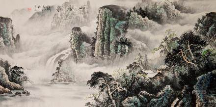 Shi Gu Modern Chinese Watercolor Landscape Scroll
