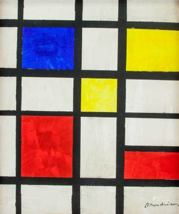 French De Stijl Oil on Canvas Signed Piet Mondrian