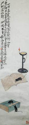 Qi Baishi 1864-1957 Chinese Watercolor Scroll
