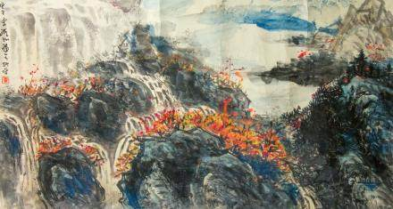 Li Xinchun 20th C Chinese Watercolor on Paper Roll