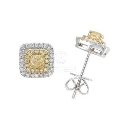 18k White and Yellow Gold & Diamonds Earrings