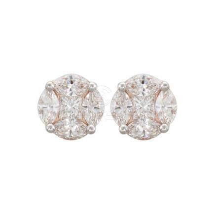 18k Rose Gold and Diamonds Earrings
