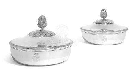 A MATCHED PAIR OF AUSTRIAN/FRENCH SILVER VEGETABLE DISHES AN