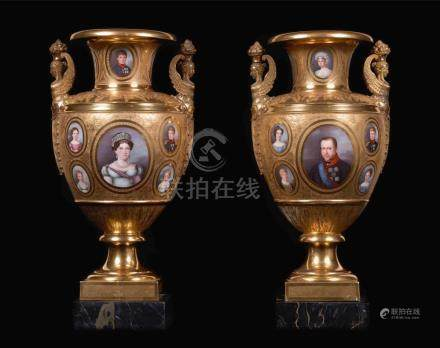 AN IMPORTANT PAIR OF ROYAL PORTRAIT GOLD-GROUND PORCELAIN AR