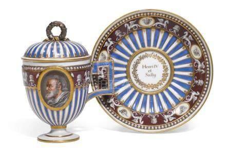A MEISSEN (MARCOLINI) PORCELAIN DOUBLE-PORTRAIT CUP, COVER A