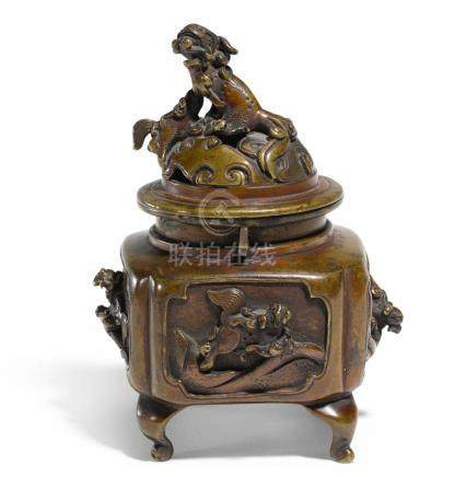 A CHINESE BRONZE 'MYTHICAL BEAST' CENSER AND COVER, QING DYN