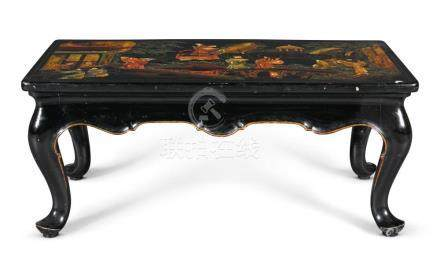 A CHINOISERIE PARCEL-GILT AND BLACK LACQUER LOW TABLE, 20TH