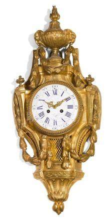 A LOUIS XVI-STYLE GILT BRONZE CARTEL WALL CLOCK, FRENCH, CIR