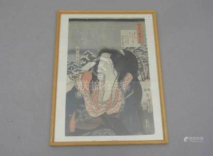 """JAPANISCHER FARBHOLZSCHNITT: """"Brustbild eines Samurais in Winterlandschaft"""", 19. Jh., auf Kartuschen"""