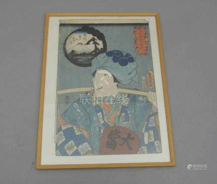 """JAPANISCHER FARBHOLZSCHNITT: """"Frau mit Joch vor Kartusche mit Blick auf den Fujiyama"""", 19. Jh.,"""