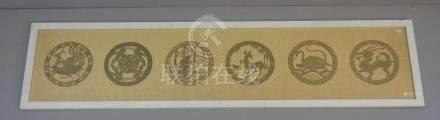 6 CHINESISCHE SCHERENSCHNITTE mit Tiermotiven im Tondo, braunes Papier, montiert auf