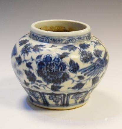 Chinese squat baluster shaped vase having blue and white painted decoration depicting birds