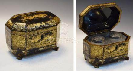 19th Century Chinese lacquered tea caddy having typical gilded decoration on a black ground and on
