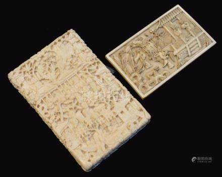 19th Century Cantonese deep carved ivory visiting card case, typically decorated with figures and