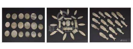 Collection of 19th Century Chinese mother-of-pearl gaming tokens, various shapes including fish,