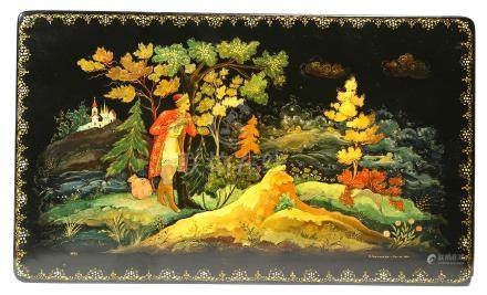 A Russian lacquer box, the hinged lid painted with a fairy tale scene, with a young man spying on
