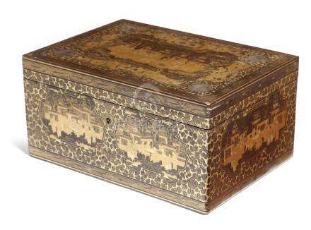 A 19th century Chinese export black lacquer box, decorated in gilt with panels of buildings and