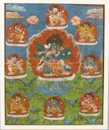Yidam Vajrakilaya. Old Tibetan Buddhist thangka painting.