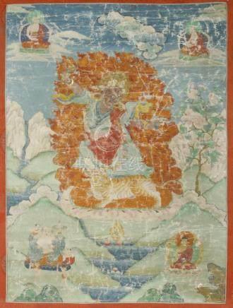 Dorje Drolo (Padmasambhava) and Arhats. Rare antique Tibetan