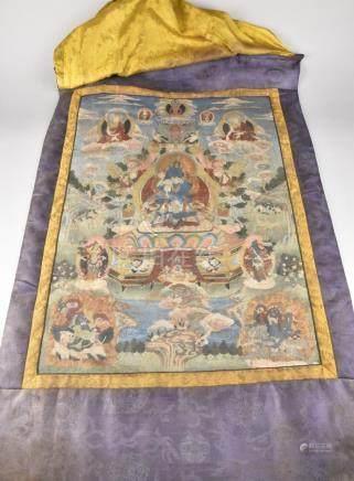 Vajradhara yab-yum. Old Tibetan or Chinese thangka painting
