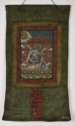 Shadbhuja Mahakala. Rare, old Tibetan or Chinese Buddhist th