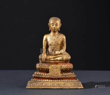 Buddha Shakyamuni. Thailand. Gilt bronze figure