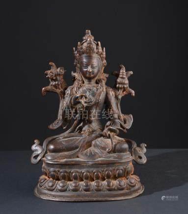 Buddha Vajrasattva. Old Tibetan or Chinese Buddhist bronze s
