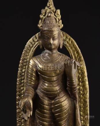 Standing Buddha Shakyamuni. Old Tibetan or Chinesee brass st
