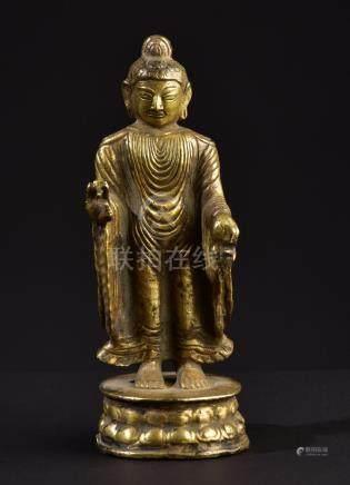Buddha Dipankara. Old Tibetan or Chinese gilt Buddhist statu