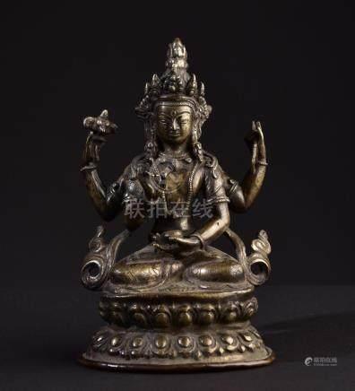 Prajnaparamita. Old Tibetan or Chinese Buddha sculpture.