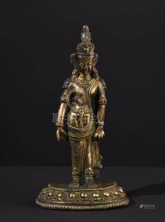 Bodhisattva Padmapani. Antique Tibetan or Chinese gilt bronz