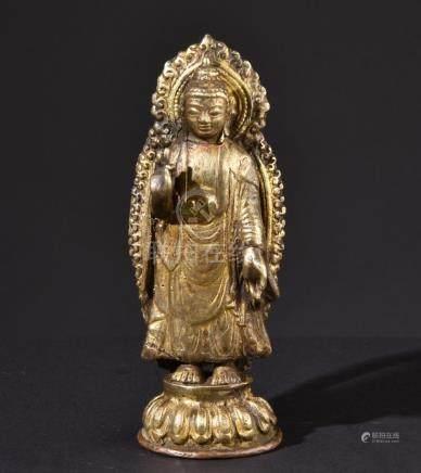 Preaching Buddha Shakyamuni. Old Tibetan or Chinese Buddhist