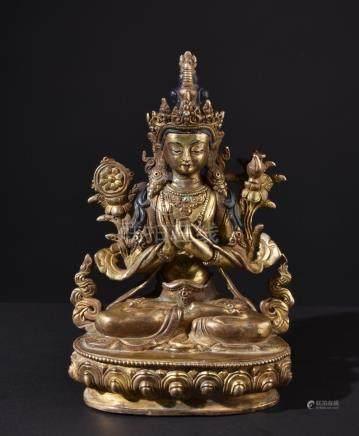 Buddha Maitreya. Old Tibetan or Chinese gilt bronze statue.