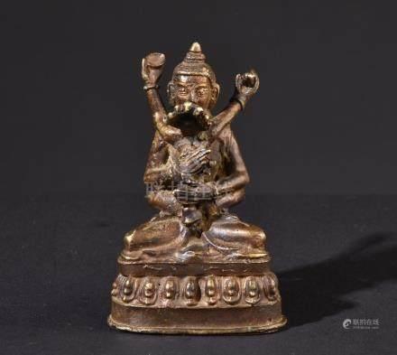 Buddha Vajrasattva yab-yum. Old Tibetan or Chinese gilt stat