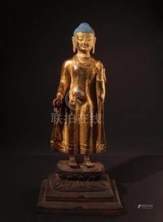 Standing Buddha Shakyamuni. Impressive Tibetan or Chinese gi