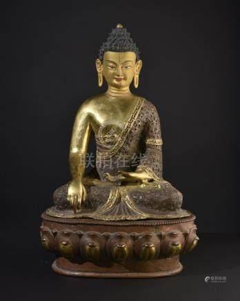 Buddha Shakyamuni. Large, old Tibetan or Chinese gilt bronze