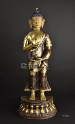 Standing Buddha Shakyamuni. Impressive old Tibetan or Chines