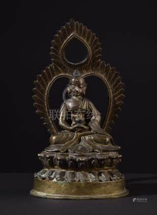 Buddha Amitabha. Ritually filled antique Tibetan / Nepalese