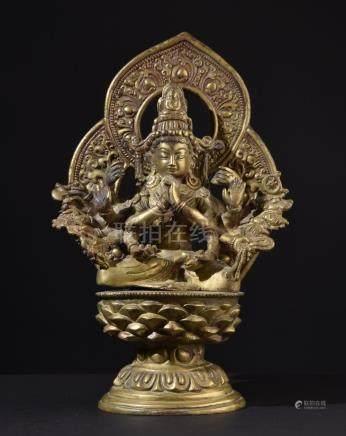 Buddhist Goddess Cundi. Old Tibetan / Nepalese Brass Buddha
