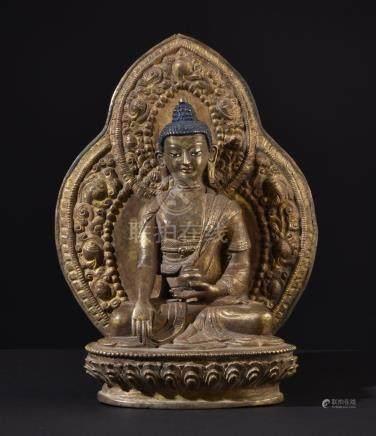 Buddha Shakyamuni. Old Tibetan or Chinese gilt bronze statue