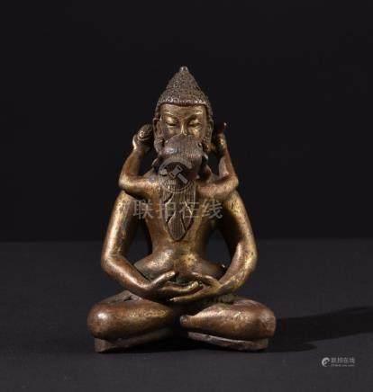 Buddha Samantabhadra. Antique Tibetan or Chinese Buddhist br