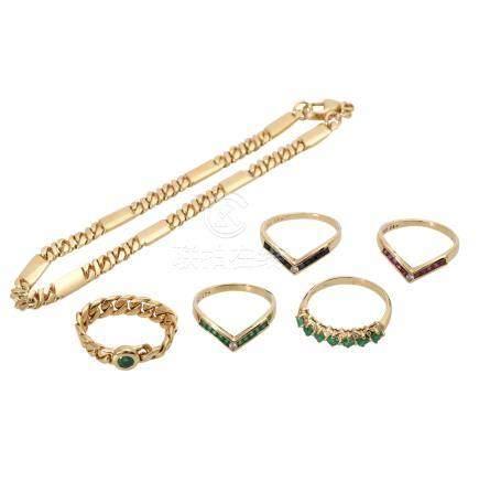Schmuckkonvolut 6-teilig,Händlerkonvolut bestehend aus 5 Ringen und 1 Armband, GG 18K, mit