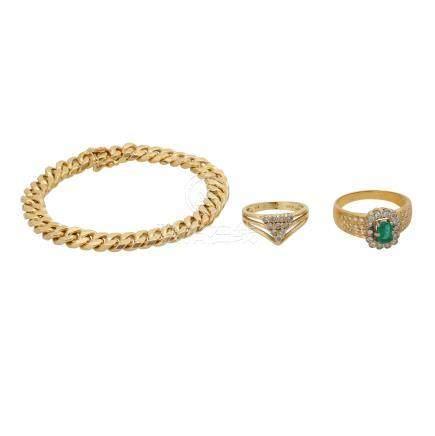 Schmuckkonvolut 3-teilig,Händlerkonvolut bestehend aus 2 Ringen und 1 Armband, GG 18K, mit