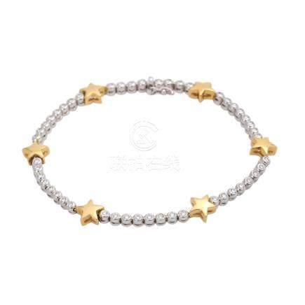 Armband mit Sternen und Brillantenvon zus. ca. 0,70 ct, LGW (I - J) / VS, GG / WG 14K, L: ca. 18,