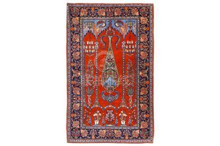 A FINE KASHAN PRAYER RUG, CENTRAL PERSIA approx: 7ft.1in. x