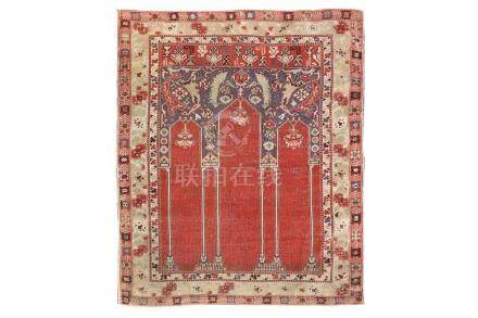 AN ANTIQUE COUPLED COLUMN TUDUC PRAYER RUG, TRANSYLVANIA app