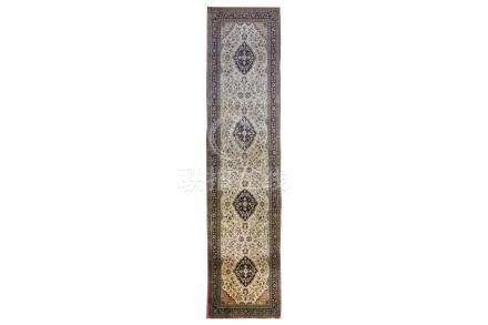 A VERY FINE SILK QUM RUNNER, CENTRAL PERSIA approx: 12ft.2in