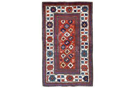 AN ANTIQUE KAZAK RUG, SOUTH CAUCASUS approx: 7ft.7in. x 4ft.