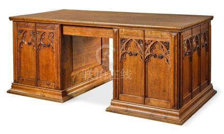 MANNER OF A. W. N. PUGIN | Gothic Revival Pedestal Desk